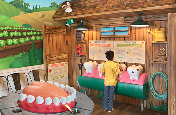 Backyard themed dental education station with tooth brushing station and educational posters.